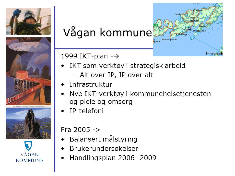Vågan kommune 1999 IKT-plan -  IKT som verktøy i strategisk arbeid –Alt over IP, IP over alt Infrastruktur Nye IKT-verktøy i kommunehelsetjenesten og