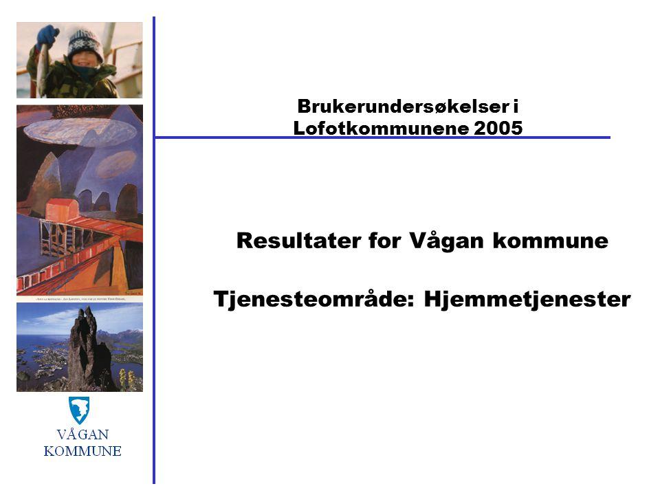 Brukerundersøkelser i Lofotkommunene 2005 Resultater for Vågan kommune Tjenesteområde: Hjemmetjenester
