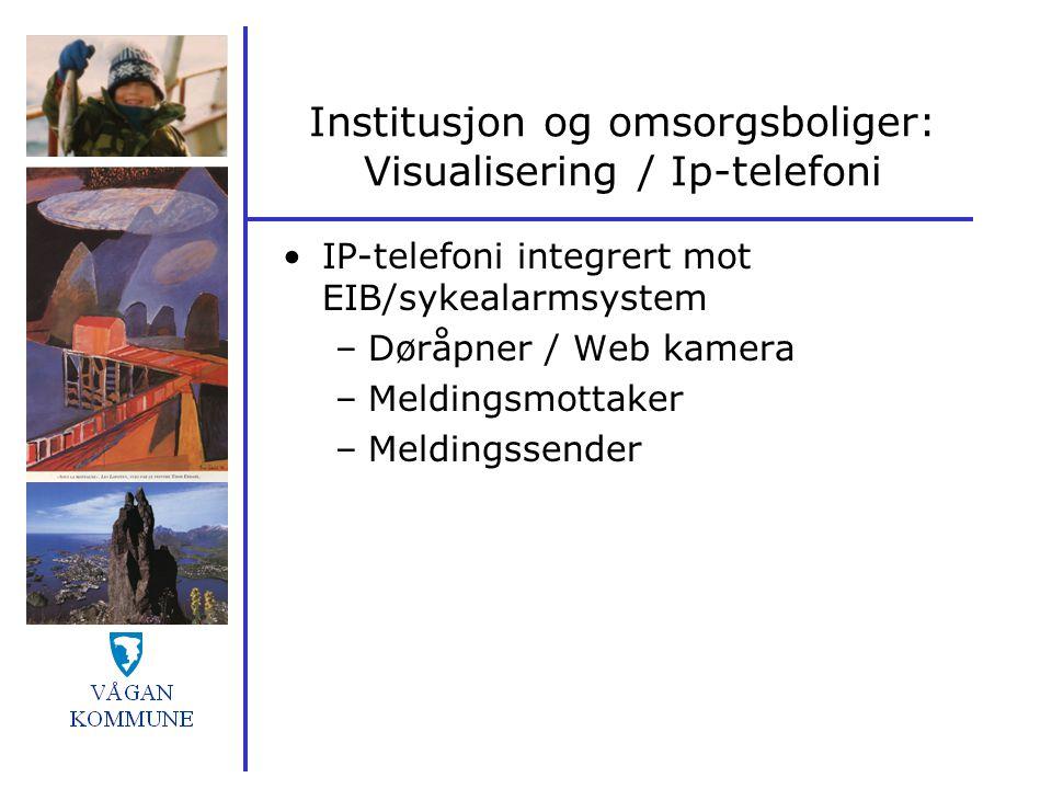 Institusjon og omsorgsboliger: Visualisering / Ip-telefoni IP-telefoni integrert mot EIB/sykealarmsystem –Døråpner / Web kamera –Meldingsmottaker –Mel