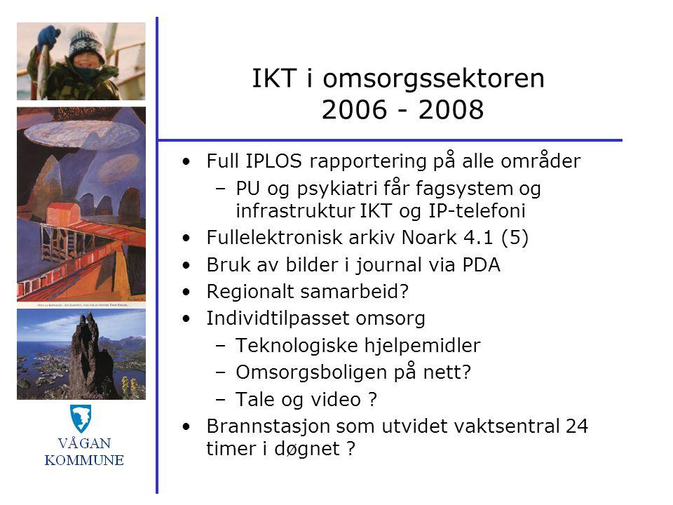IKT i omsorgssektoren 2006 - 2008 Full IPLOS rapportering på alle områder –PU og psykiatri får fagsystem og infrastruktur IKT og IP-telefoni Fullelekt