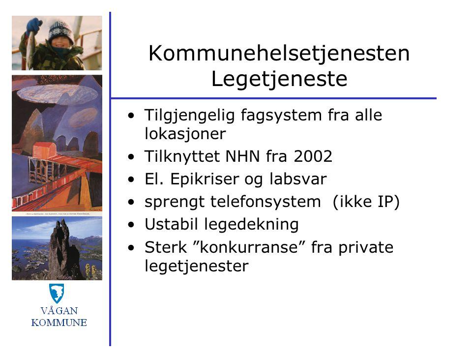 Kommunehelsetjenesten Legetjeneste Tilgjengelig fagsystem fra alle lokasjoner Tilknyttet NHN fra 2002 El. Epikriser og labsvar sprengt telefonsystem (