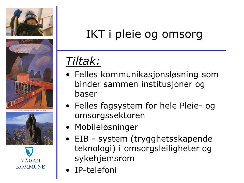 IKT i pleie og omsorg Tiltak: Felles kommunikasjonsløsning som binder sammen institusjoner og baser Felles fagsystem for hele Pleie- og omsorgssektore
