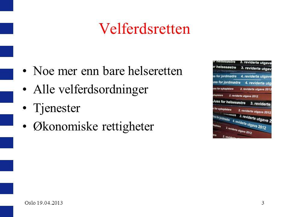 Prosessuelle rettigheter Rett til medvirkning Rett til informasjon Rett til samtykke Rettigheter i fastlegeordningen Innsyn, retting og sletting i journal tvangsbestemmelsene Oslo 19.04.201314