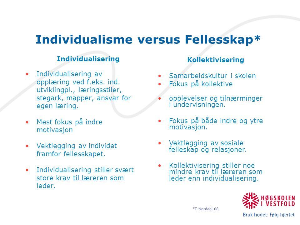 Individualisme versus Fellesskap* Individualisering Individualisering av opplæring ved f.eks. ind. utviklingpl., læringsstiler, stegark, mapper, ansva