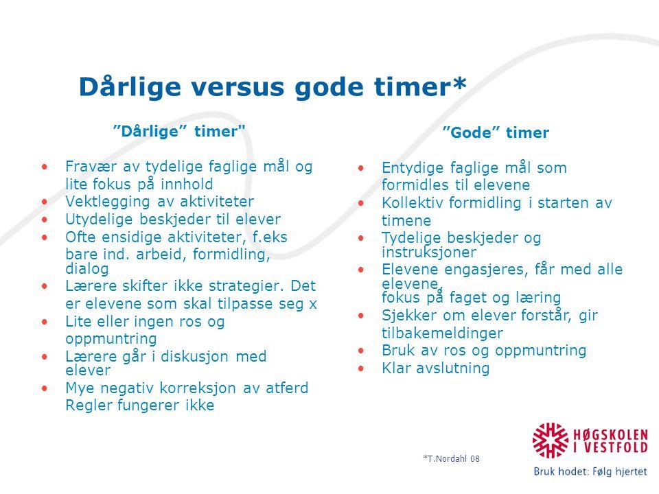 """Dårlige versus gode timer* """"Dårlige"""" timer"""