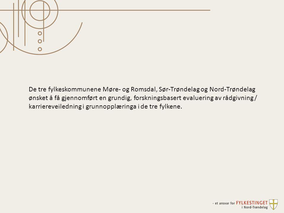 De tre fylkeskommunene Møre- og Romsdal, Sør-Trøndelag og Nord-Trøndelag ønsket å få gjennomført en grundig, forskningsbasert evaluering av rådgivning