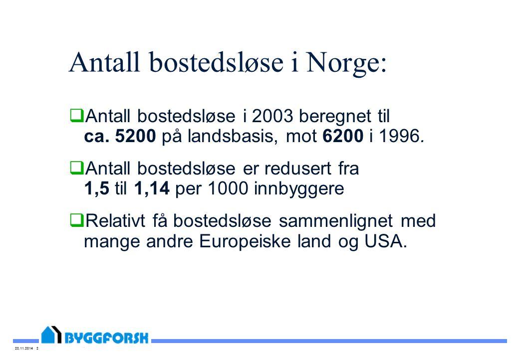 23.11.2014 2 Antall bostedsløse i Norge:  Antall bostedsløse i 2003 beregnet til ca. 5200 på landsbasis, mot 6200 i 1996.  Antall bostedsløse er red