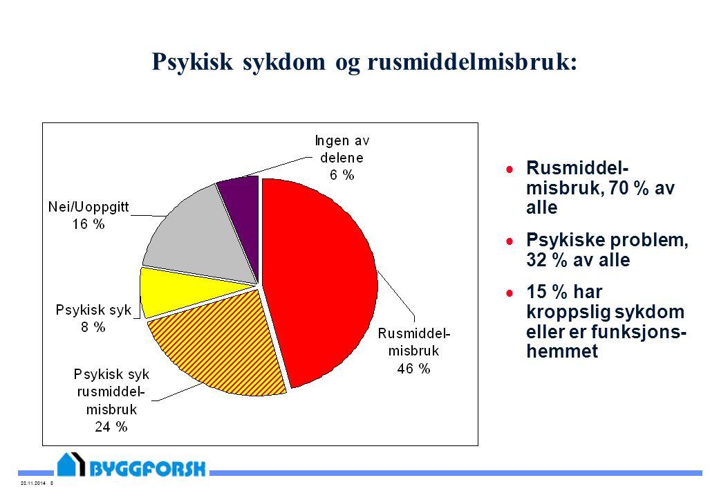 23.11.2014 8 Psykisk sykdom og rusmiddelmisbruk:  Rusmiddel- misbruk, 70 % av alle  Psykiske problem, 32 % av alle  15 % har kroppslig sykdom eller er funksjons- hemmet