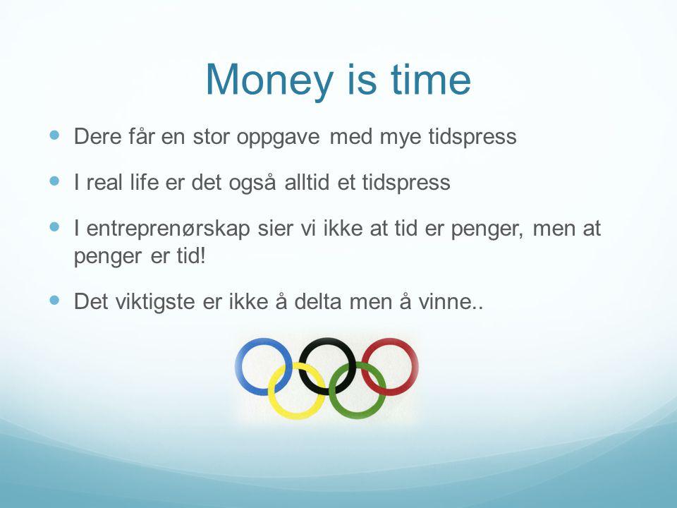Money is time Dere får en stor oppgave med mye tidspress I real life er det også alltid et tidspress I entreprenørskap sier vi ikke at tid er penger, men at penger er tid.