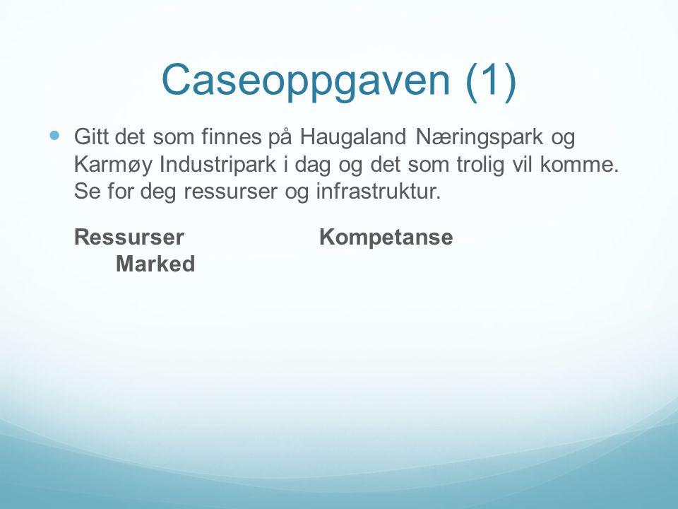 Caseoppgaven (1) Gitt det som finnes på Haugaland Næringspark og Karmøy Industripark i dag og det som trolig vil komme.
