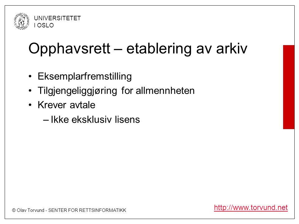 © Olav Torvund - SENTER FOR RETTSINFORMATIKK UNIVERSITETET I OSLO http://www.torvund.net Opphavsrett – etablering av arkiv Eksemplarfremstilling Tilgjengeliggjøring for allmennheten Krever avtale –Ikke eksklusiv lisens