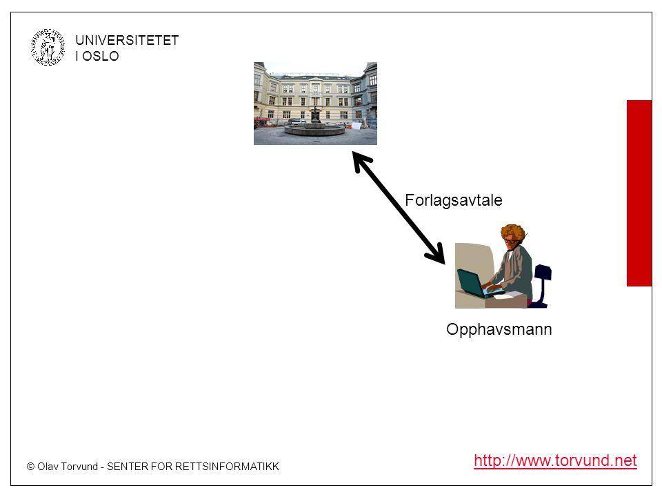 © Olav Torvund - SENTER FOR RETTSINFORMATIKK UNIVERSITETET I OSLO http://www.torvund.net Opphavsmann Forlagsavtale