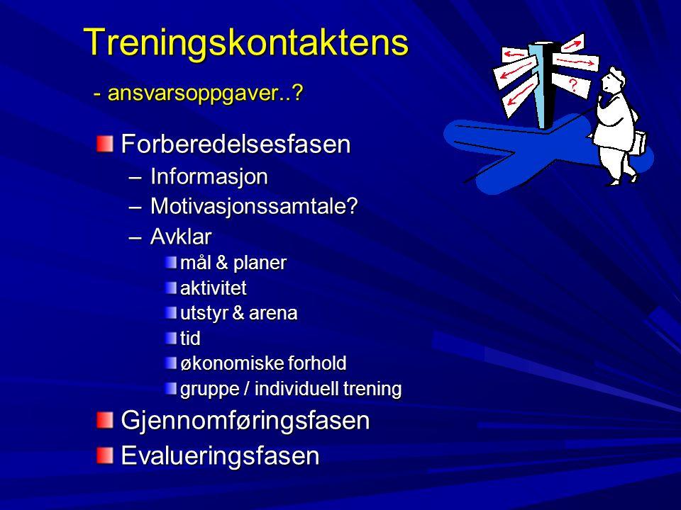 Treningskontaktens - ansvarsoppgaver...Treningskontaktens - ansvarsoppgaver...