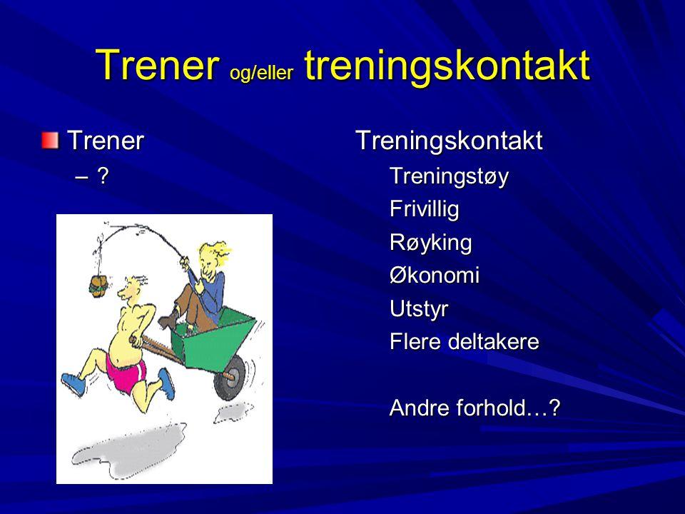 Trener og/eller treningskontakt Trener –.