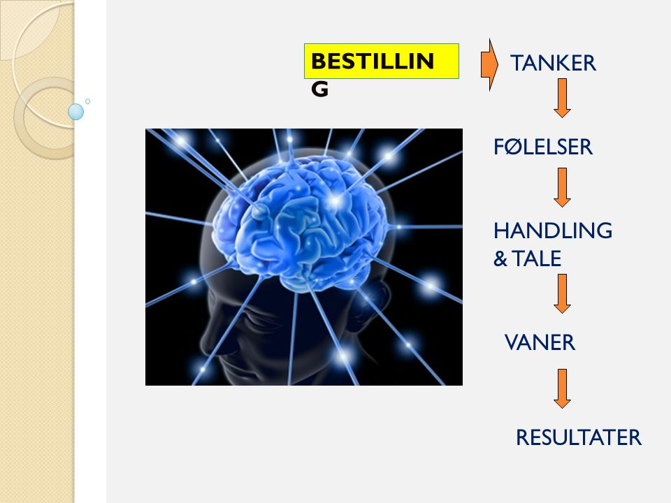 TANKER FØLELSER HANDLING & TALE VANER RESULTATER BESTILLIN G