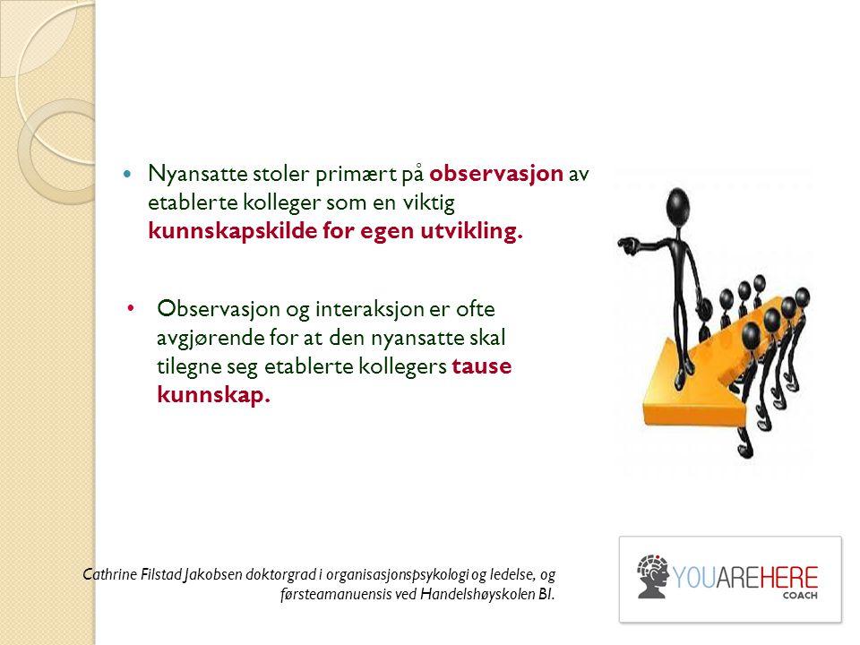 Nyansatte stoler primært på observasjon av etablerte kolleger som en viktig kunnskapskilde for egen utvikling. Observasjon og interaksjon er ofte avgj