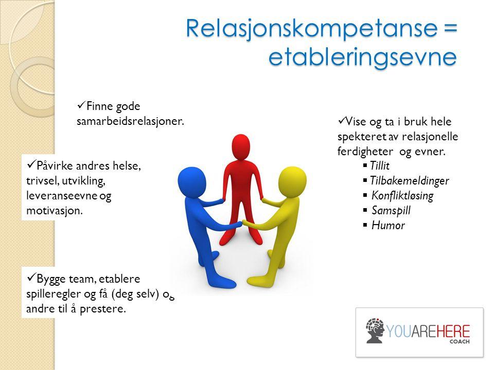 Relasjonskompetanse = etableringsevne Finne gode samarbeidsrelasjoner. Påvirke andres helse, trivsel, utvikling, leveranseevne og motivasjon. Bygge te