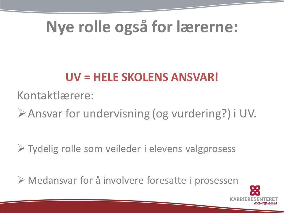 Nye rolle også for lærerne: UV = HELE SKOLENS ANSVAR.