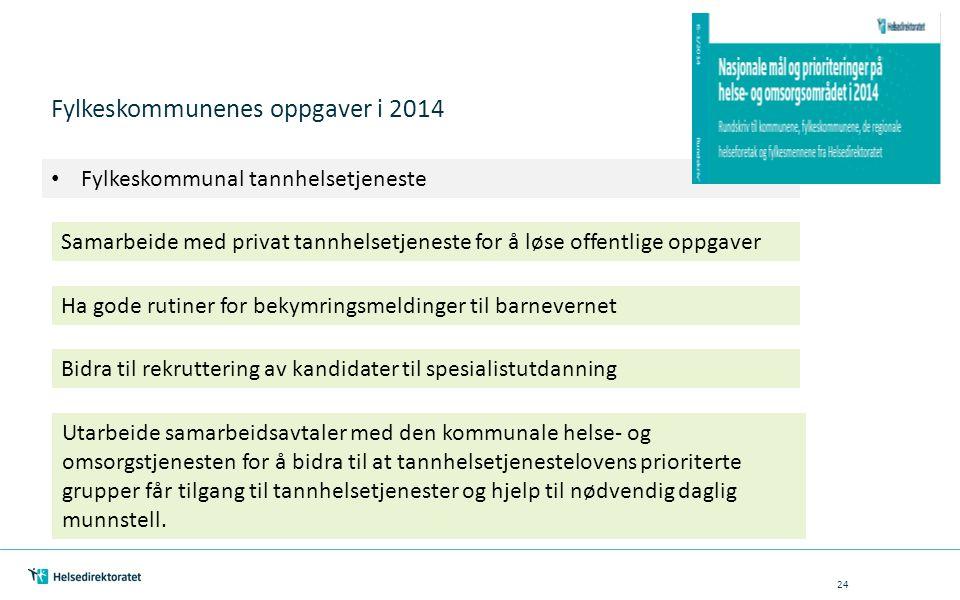 Fylkeskommunenes oppgaver i 2014 Fylkeskommunal tannhelsetjeneste Samarbeide med privat tannhelsetjeneste for å løse offentlige oppgaver Ha gode rutin