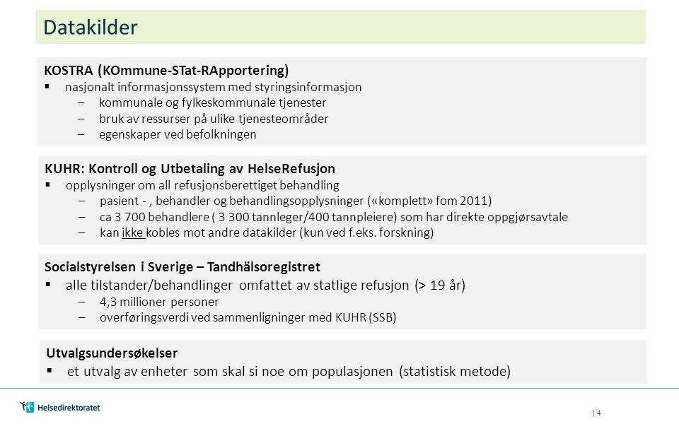| 4 Datakilder KOSTRA (KOmmune-STat-RApportering)  nasjonalt informasjonssystem med styringsinformasjon –kommunale og fylkeskommunale tjenester –bruk