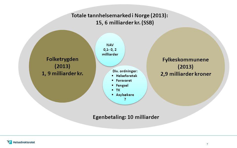 7 Totale tannhelsemarked i Norge (2013): 15, 6 milliarder kr. (SSB) Folketrygden (2013) 1, 9 milliarder kr. Fylkeskommunene (2013) 2,9 milliarder kron