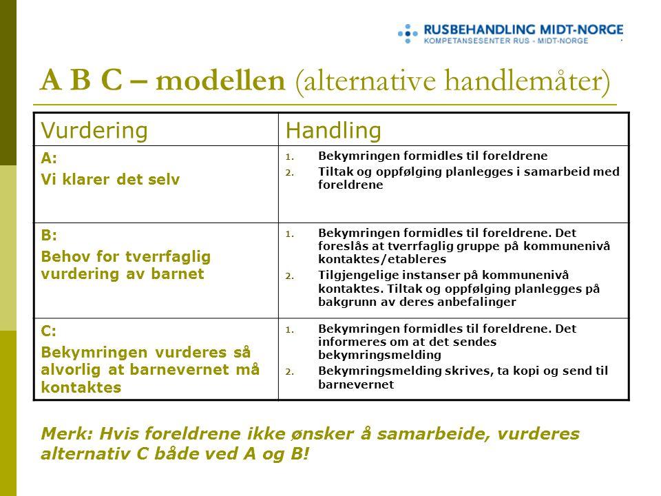A B C – modellen (alternative handlemåter) VurderingHandling A: Vi klarer det selv 1.
