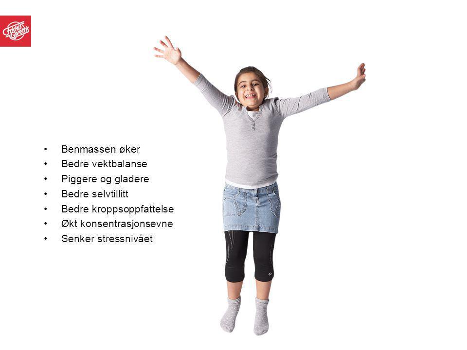 Benmassen øker Bedre vektbalanse Piggere og gladere Bedre selvtillitt Bedre kroppsoppfattelse Økt konsentrasjonsevne Senker stressnivået