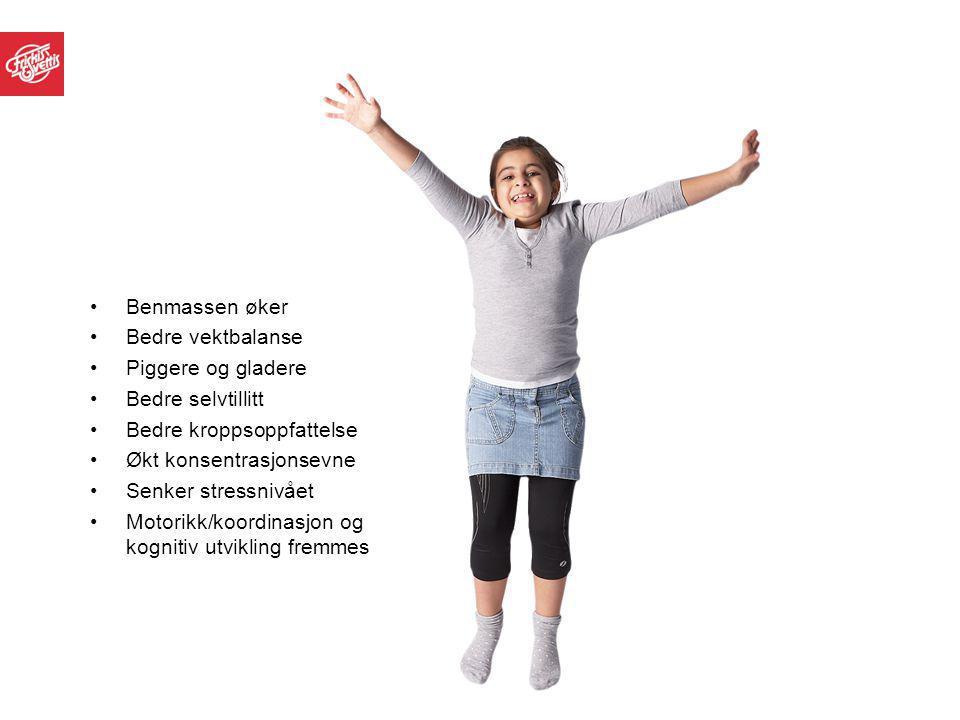 Benmassen øker Bedre vektbalanse Piggere og gladere Bedre selvtillitt Bedre kroppsoppfattelse Økt konsentrasjonsevne Senker stressnivået Motorikk/koor