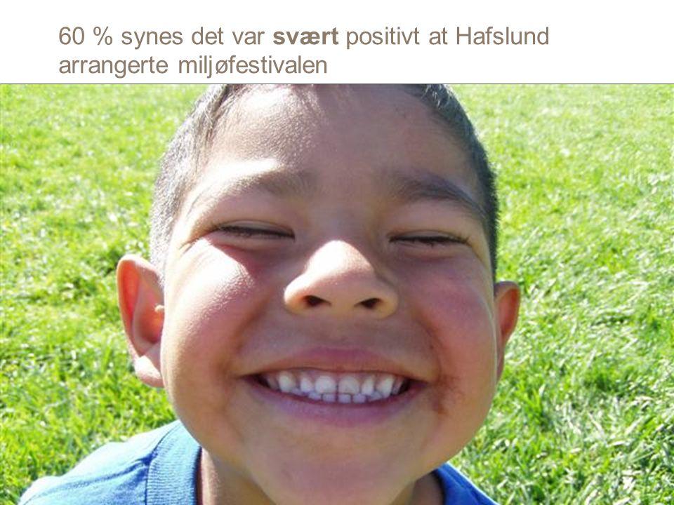 60 % synes det var svært positivt at Hafslund arrangerte miljøfestivalen