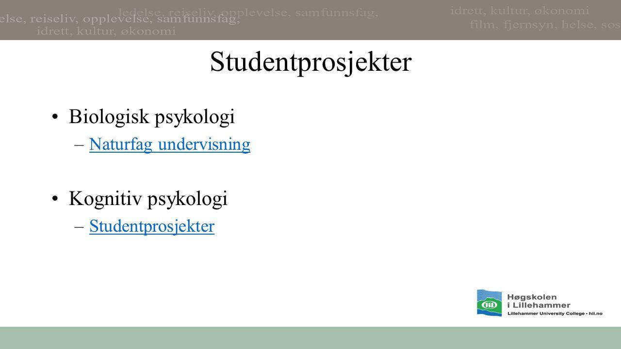 Student- og lærerprosjekter - Miljøpsy