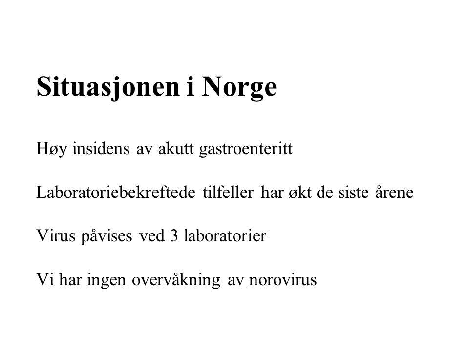 Situasjonen i Norge Høy insidens av akutt gastroenteritt Laboratoriebekreftede tilfeller har økt de siste årene Virus påvises ved 3 laboratorier Vi ha