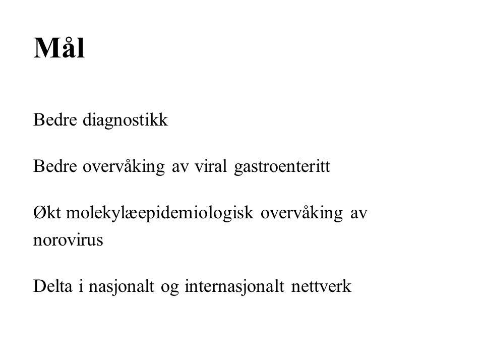 Mål Bedre diagnostikk Bedre overvåking av viral gastroenteritt Økt molekylæepidemiologisk overvåking av norovirus Delta i nasjonalt og internasjonalt