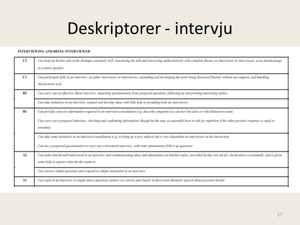 Deskriptorer - intervju 17