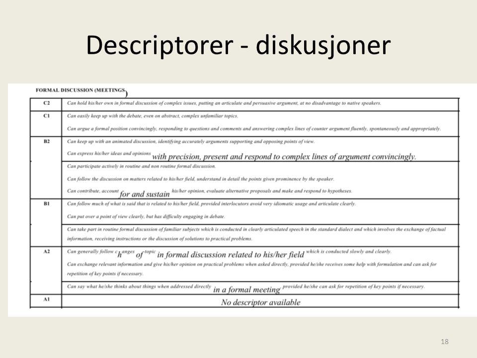 Descriptorer - diskusjoner 18
