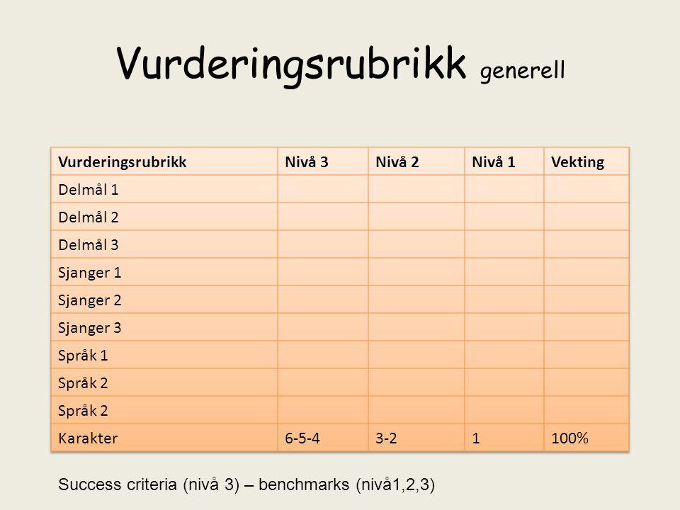 Vurderingsrubrikk generell Success criteria (nivå 3) – benchmarks (nivå1,2,3)