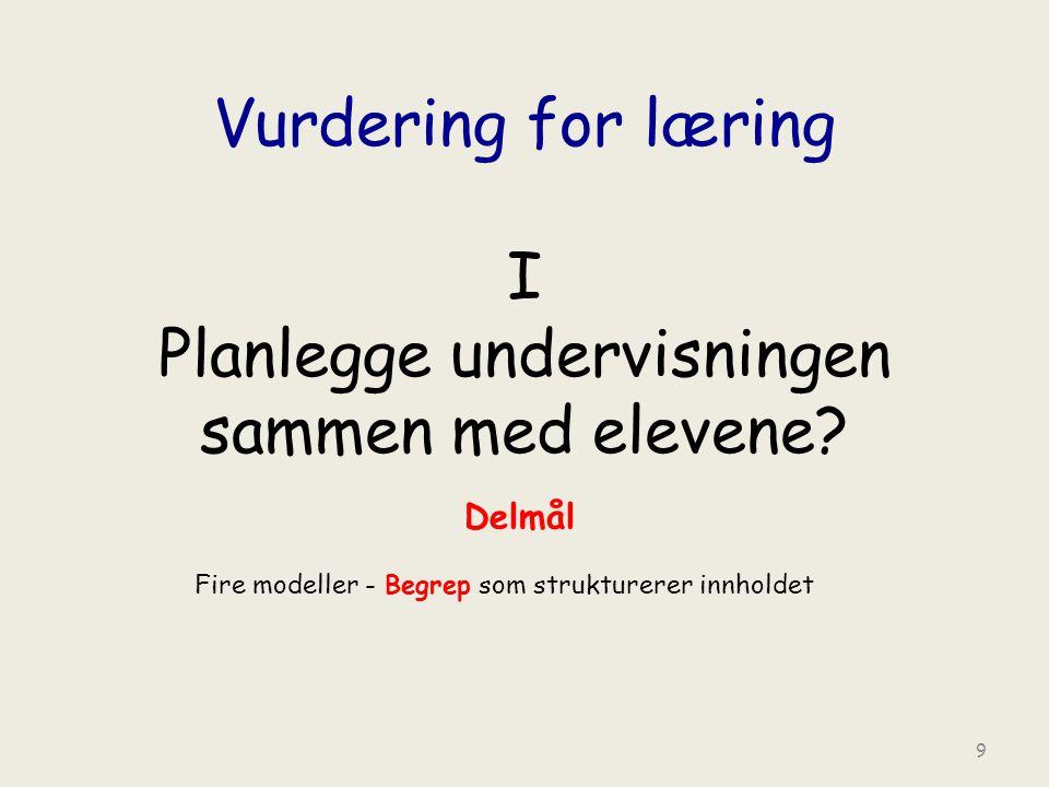 Vurdering for læring I Planlegge undervisningen sammen med elevene.