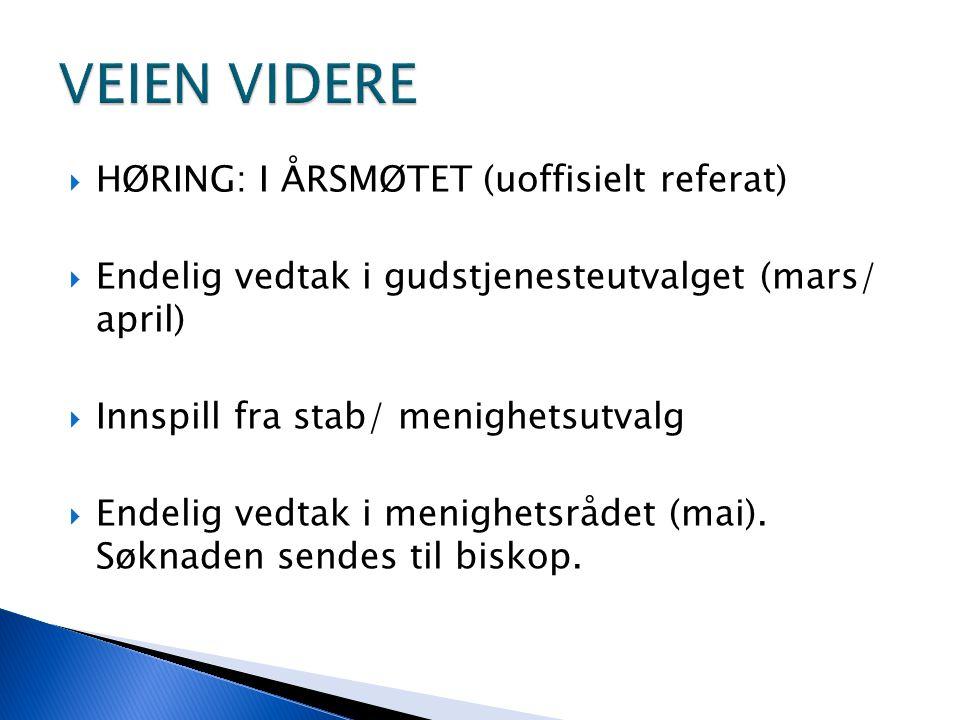  HØRING: I ÅRSMØTET (uoffisielt referat)  Endelig vedtak i gudstjenesteutvalget (mars/ april)  Innspill fra stab/ menighetsutvalg  Endelig vedtak