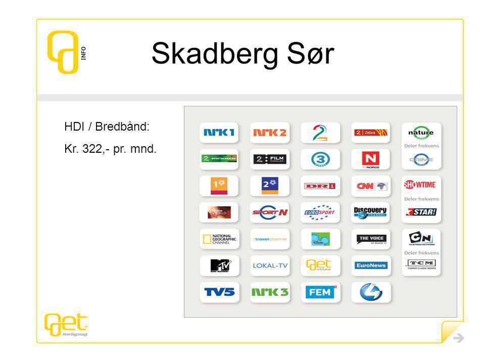 Skadberg Sør HDI / Bredbånd: Kr. 322,- pr. mnd.
