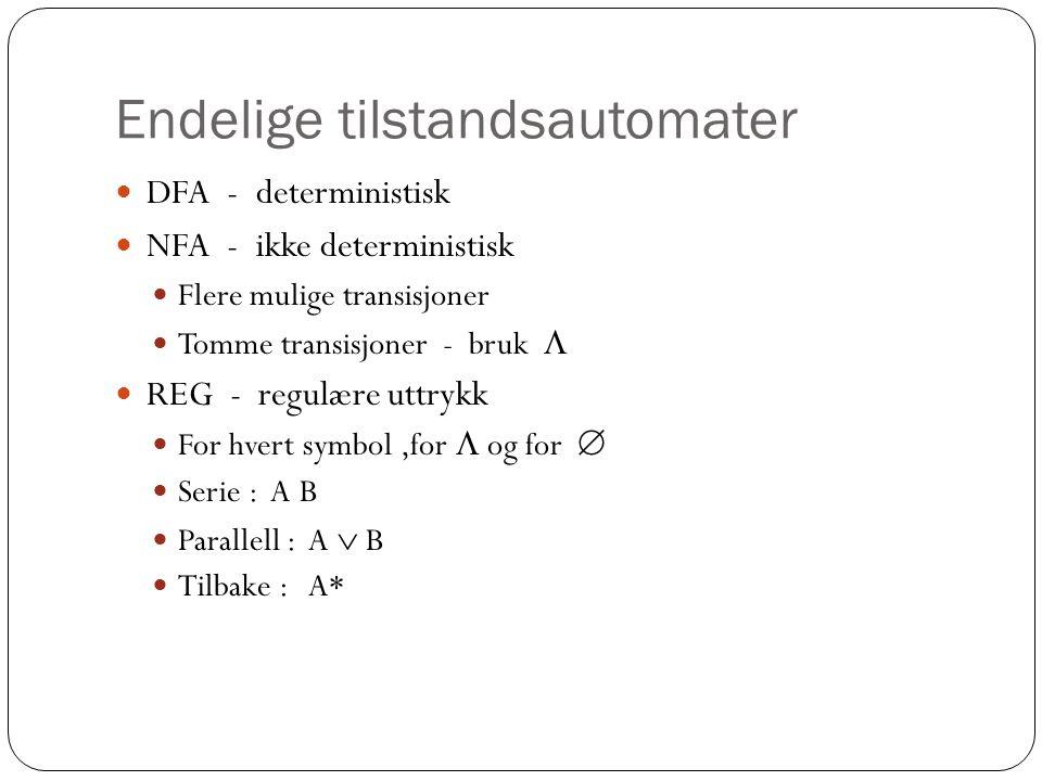 Endelige tilstandsautomater DFA - deterministisk NFA - ikke deterministisk Flere mulige transisjoner Tomme transisjoner - bruk  REG - regulære uttrykk For hvert symbol,for  og for  Serie : A B Parallell : A  B Tilbake : A*