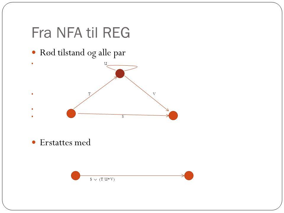 Fra NFA til REG Rød tilstand og alle par U T V S Erstattes med S  (T U* V)