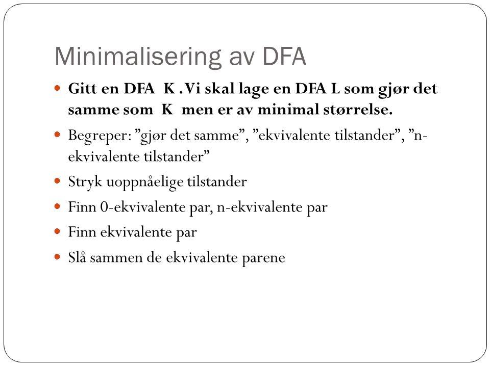 Minimalisering av DFA Gitt en DFA K.