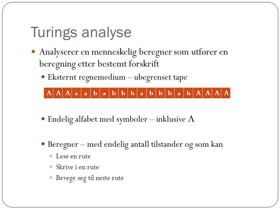 Turings analyse Analyserer en menneskelig beregner som utfører en beregning etter bestemt forskrift Eksternt regnemedium – ubegrenset tape Endelig alfabet med symboler – inklusive  Beregner – med endelig antall tilstander og som kan Lese en rute Skrive i en rute Bevege seg til neste rute  aababbbabbbab 