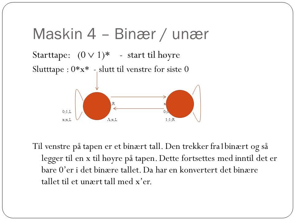 Maskin 4 – Binær / unær Starttape: (0  1)* - start til høyre Slutttape : 0*x* - slutt til venstre for siste 0 1;0,R x;x,R 0;1,L 0;0,R x;x,L  ;x,L 1;1;R Til venstre på tapen er et binært tall.