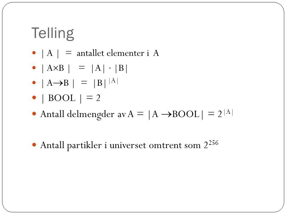 Binære relasjoner  Refleksiv :  x (Rxx)  Irrefleksiv :  x  (Rxx)  Symmetrisk :  x  y (Rxy  Ryx)  Antisymmetrisk :  x  y (Rxy  Ryx  x=y)  Transitiv :  x  y  z (Rxy  Ryz  Rxz)  Total :  x  y (Rxy  x=y  Ryx)  Ekvivalensrelasjon  : Refleksiv, symmetrisk, transitiv – gir en partisjon av universet  Partiell ordning  : Refleksiv, antisymmetrisk, transitiv  Total ordning  : Partiell ordning som er total