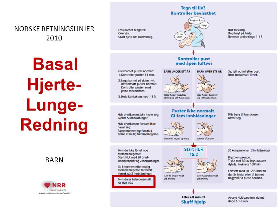 NORSKE RETNINGSLINJER 2010 Basal Hjerte- Lunge- Redning BARN Start HLR 15:2
