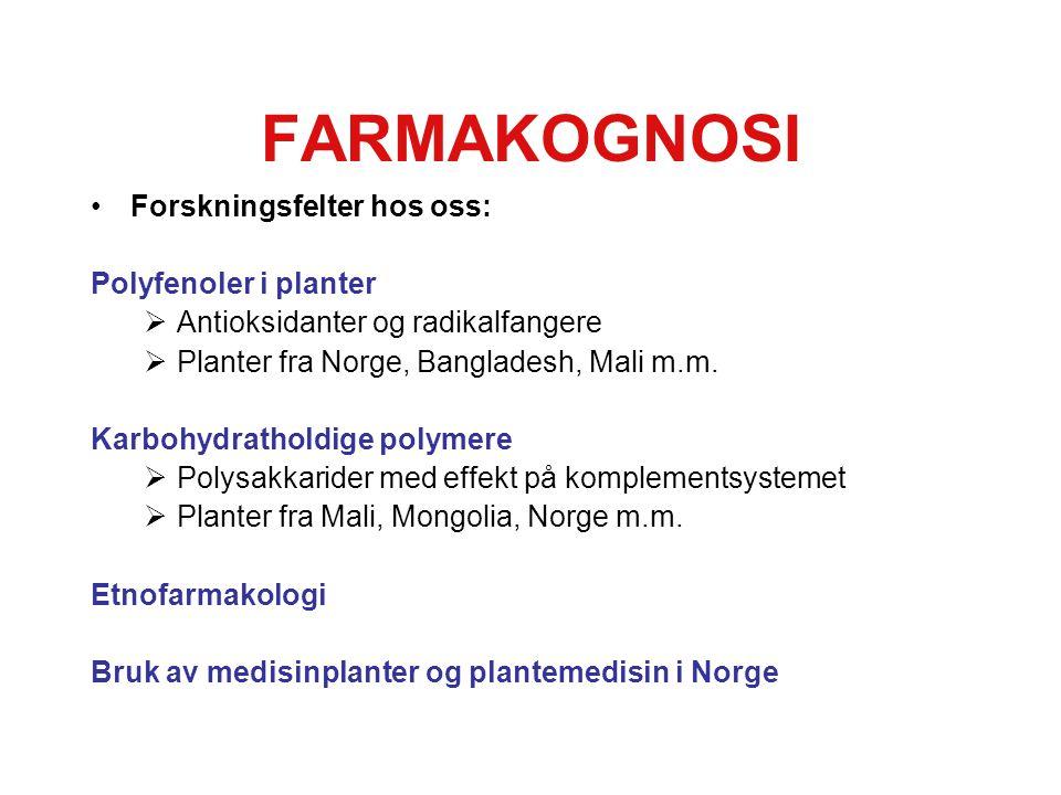 FARMAKOGNOSI Forskningsfelter hos oss: Polyfenoler i planter  Antioksidanter og radikalfangere  Planter fra Norge, Bangladesh, Mali m.m.