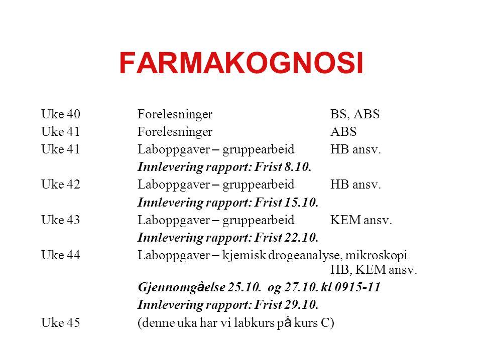 FARMAKOGNOSI Uke 40ForelesningerBS, ABS Uke 41ForelesningerABS Uke 41Laboppgaver – gruppearbeidHB ansv.