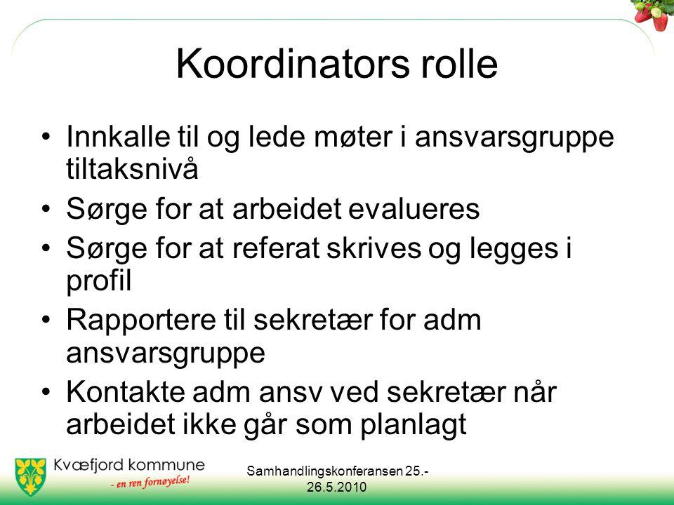 Samhandlingskonferansen 25.- 26.5.2010 Koordinators rolle Innkalle til og lede møter i ansvarsgruppe tiltaksnivå Sørge for at arbeidet evalueres Sørge