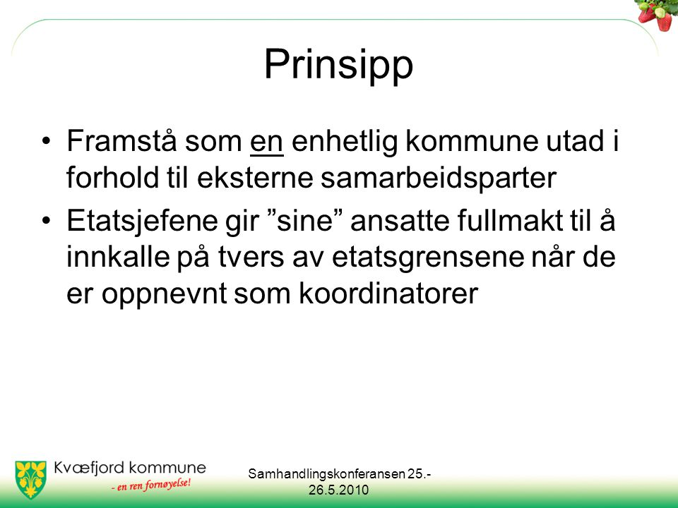 Samhandlingskonferansen 25.- 26.5.2010 Prinsipp forts: Fokus på organisasjonsteori: FagForvaltning System/ organisasjon