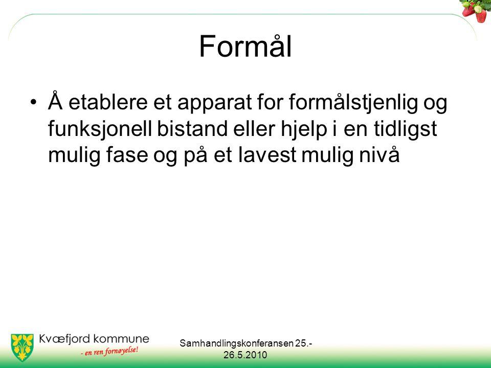 Samhandlingskonferansen 25.- 26.5.2010 Formål Å etablere et apparat for formålstjenlig og funksjonell bistand eller hjelp i en tidligst mulig fase og